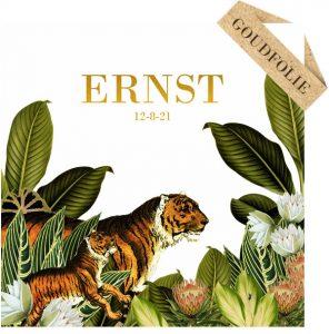 Jungle botanisch geboortekaartje met tijger familie. Met echte goudfolie. Botanisch geboortekaartje met palmen en varens, past helemaal in de bohemian trend van nu.