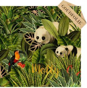 Botanisch geboortekaartje jungle met pandabeer. De palmen en jungle planten zijn bijzonder illustratief en prachtig in combinatie met goudfolie.