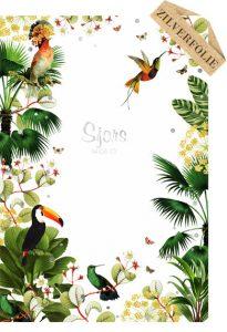Jungle geboortekaartje met kolibrie en toekan. Een erg mooi geboortekaartje met foliedruk, keuze uit goudfolie, zilverfolie of koperfolie.