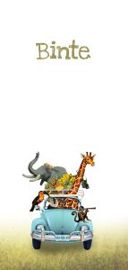 Geboortekaartje met volkswagen jungle. Aap, giraffe, olifant, vogel.