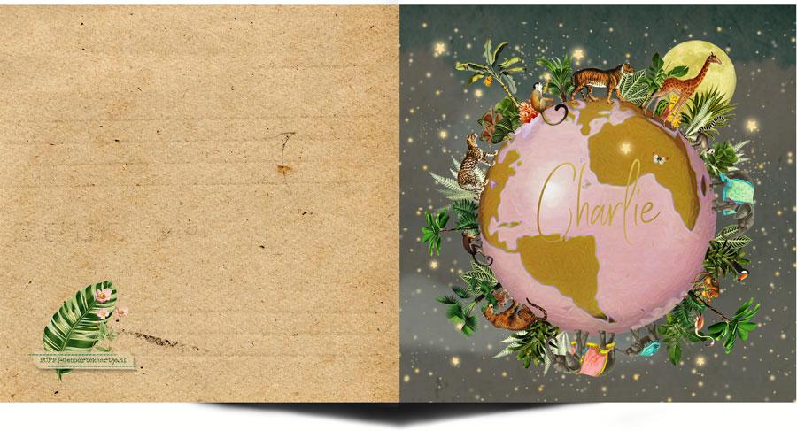 Geboortekaartje wereldbol met sterren, maan, palmboom, jungle, giraffe, tijger, aap, panter, jaguar, olifant, toekan en flamingo. Sterrenhemel.