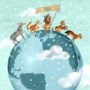 Geboortekaartje wereldbol met dieren en sneeuw. Geschikt voor kleine ontdekkingsreizigers en adoptie.