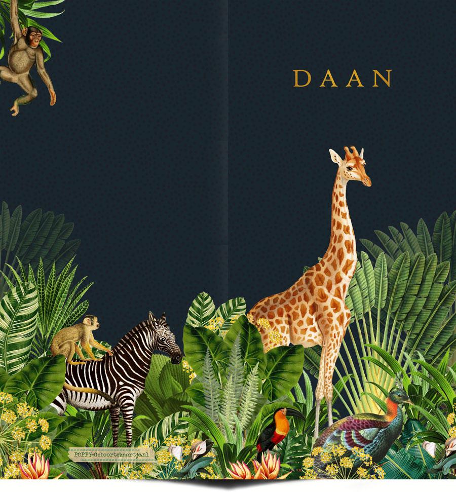Geboortekaartje jungle dieren met giraffe en zebra. Botanische planten maken het tot een bijzonder geboortekaartje. Liefhebbers van bohemian kunnen hun hart ophalen hiermee.