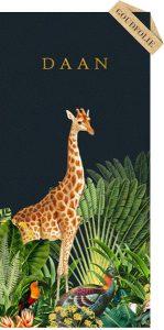 Geboortekaartje jungle met giraffe en zebra. Botanische planten maken het tot een bijzonder geboortekaartje. Liefhebbers van bohemian kunnen hun hart ophalen hiermee.