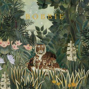 Bohemien geboortekaartje met tijgers in de jungle. Bloemen en varens zijn schitterend decoratief.