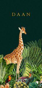Jungle geboortekaartje met giraffe en zebra. Botanische planten maken het tot een bijzonder geboortekaartje. Liefhebbers van bohemian kunnen hun hart ophalen hiermee.
