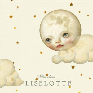 Romantisch geboortekaartje met maan, wolken en sterren in zachte poedertinten. Illustratief geboortekaartje welke ook in foliedruk geleverd kan worden. Vraag eens een gratis proefdruk aan.