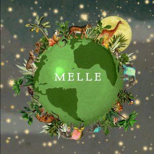 Geboortekaartje wereldbol met jungle dieren zoals de olifant, panter, jaguar, giraffe, tijger, flamingo en toekan. Een hip geboortekaartje in bohemian sfeer en vele botanische details.