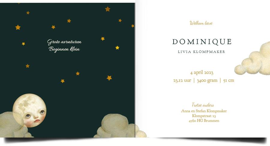 Bohemian geboortekaartje met maan, wolken en sterren in zachte poedertinten. Illustratief geboortekaartje welke ook in foliedruk geleverd kan worden. Vraag eens een gratis proefdruk aan.