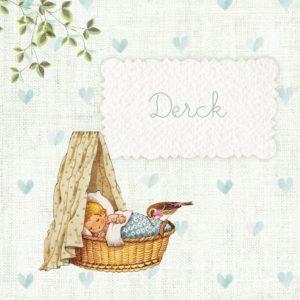 Retro geboortekaartje met afbeeldingen van vroeger. Een wiegje, takje, vogeltje, het maakt het tot een vertederend en lief geboortekaartje. Met vintage elementen en retro elementen is het een tijdloos geboortekaartje. Vraag eens de gratis proefkaart aan.