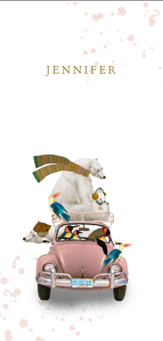 Geboortekaartje retro volkswagen winter met ijsbeer en pinguin is een leuk illustratief kaartje met retro dieren. Het retro geboortekaartje is verkrijgbaar in verschillende kleuren en je kunt zelf items toevoegen of weghalen. Zo maak je jouw eigen unieke geboortekaartje. Een proefdruk is gratis, zo kun je de kwaliteit beoordelen.