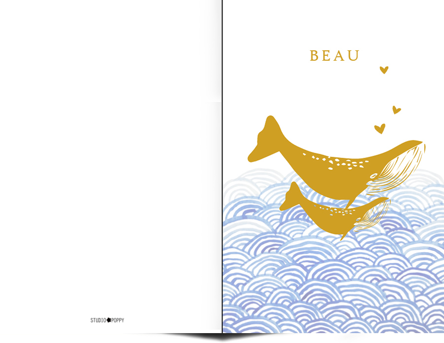 Geboortekaartje met foliedruk walvis en watercolour details. De leukste geboortekaartjes van Studio POPPY vind je hier. Met de ontwerptool kun je jouw hippe geboortekaartje ontwerpen zoals jij dat wil. We hebben allerlei stijlen geboortekaartjes zoals bohemian, watercolour, gezin, trendy en hip. Met de gratis proefdruk kun je ook de kwaliteit goed beoordelen.