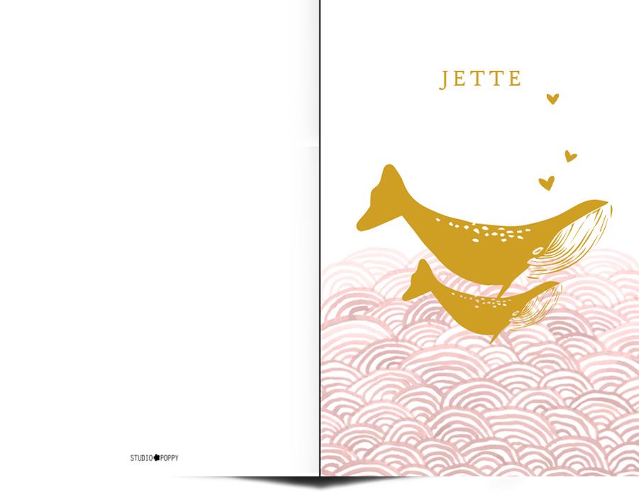 Geboortekaartje met foliedruk walvis. De leukste geboortekaartjes van Studio POPPY vind je hier. Met de ontwerptool kun je jouw hippe geboortekaartje ontwerpen zoals jij dat wil. We hebben allerlei stijlen geboortekaartjes zoals bohemian, watercolour, gezin, trendy en hip. Met de gratis proefdruk kun je ook de kwaliteit goed beoordelen.