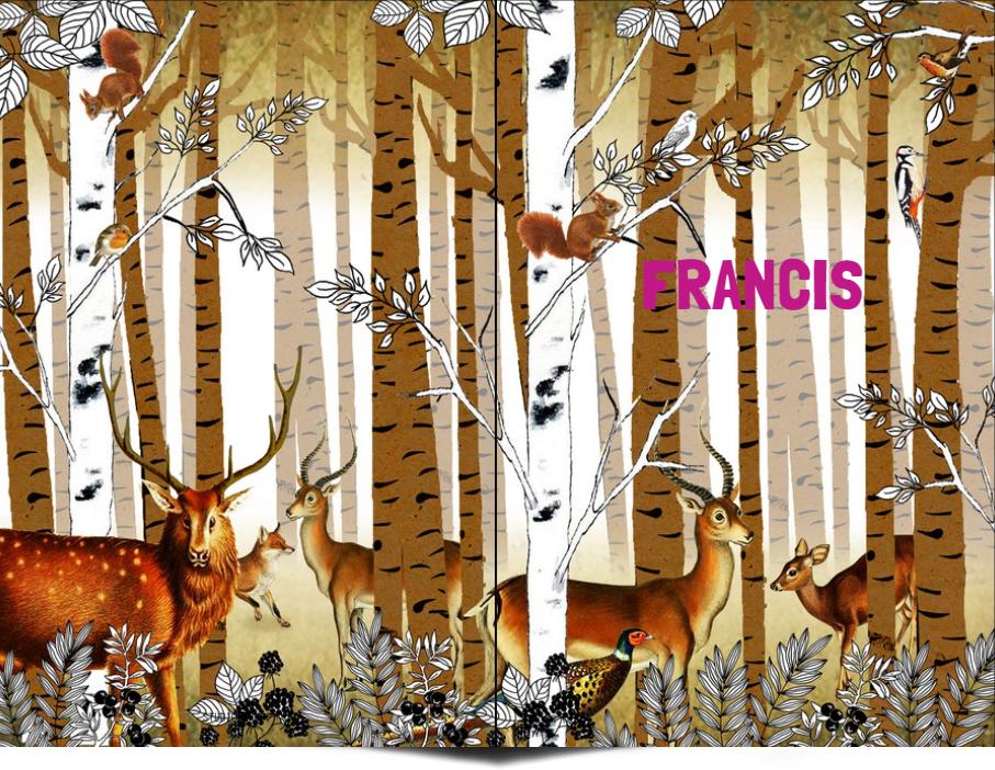 Geboortekaartje vintage bos met herten, stekelvarken, fazant, eekhoorn en vos. Beetje retro vintage maar vooral een heel illustratief geboortekaartje waar je zelf items aan toe kunt voegen of kunt weghalen. Experimenteer ook zelf eens met de kleuren. Vraag een gratis proefkaartje aan.