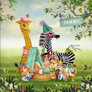 Geboortekaartje retro dieren en baby in wieg, een heel illustratief geboortekaartje waar je zelf items aan toe kunt voegen of kunt weghalen. Experimenteer ook zelf eens met de kleuren. Een gratis retro geboortekaartje als proefkaart laat zien dat wij uitstekende kwaliteit leveren.
