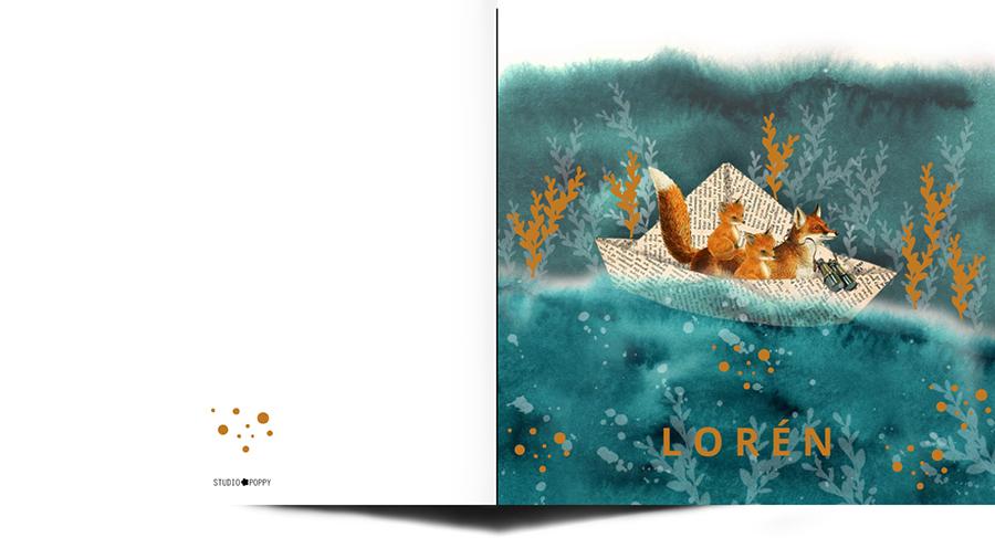 Retro geboortekaartje met vosjes in een bootje. De vissen zwemmen er onderdoor. Prachtig wanneer je houdt van symboliek in jouw geboortekaartje. Retro geboortekaartje wat prachtig illustratief is en toch ook sereen en rustig. Origineel geboortekaartje, besteld de gratis proefdruk eens.