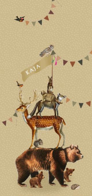 Geboortekaartje retro vintage bosdieren slingers Studio POPPY. Met de ontwerptool kun je jouw hippe geboortekaartje ontwerpen zoals jij dat wil. Dit vintage kaartje gaat helemaal met de laatste trends mee. Met de gratis proefdruk kun je ook de kwaliteit goed beoordelen en maak je geen verkeerde keus.