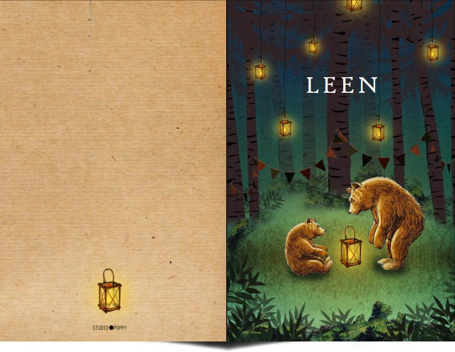 Geboortekaartje bos met beren en lantaarntjes. Beetje retro maar vooral een heel illustratief geboortekaartje waar je zelf items aan toe kunt voegen of kunt weghalen. Experimenteer ook zelf eens met de kleuren. Een gratis proefkaartje laat zien dat wij uitstekende kwaliteit te bieden hebben.
