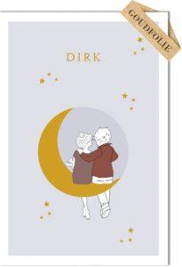 Een heel stijlvol geboortekaartje met gezin op maan met sterren in goudfolie. Je kunt andere gezinsleden toevoegen. Uniek geboortekaartje waar het hele gezin een rol speelt. Maak eens een gratis proefkaartje om zelf de prachtige kwaliteit te beoordelen.