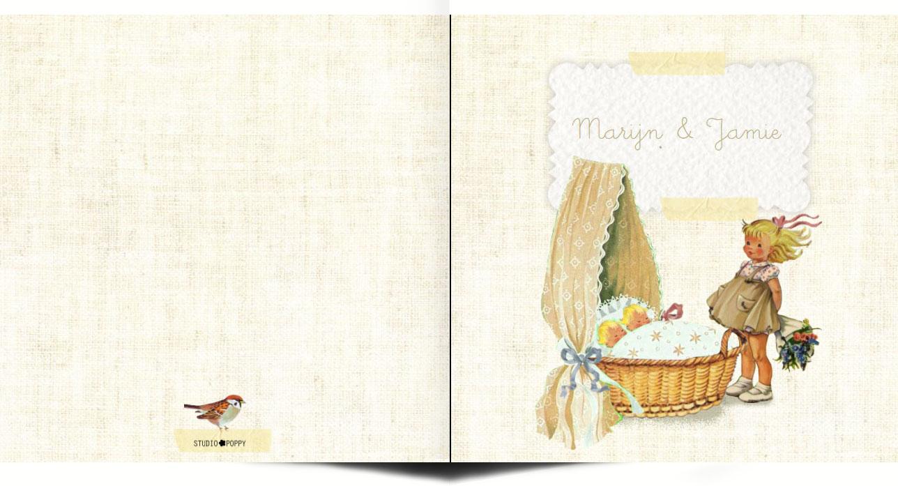 Geboortekaartje retro tweeling met grote zus. Retro geboortekaartje met afbeeldingen van vroeger. Een wiegje, takje, vogeltje, het maakt het tot een vertederend en lief geboortekaartje. Met vintage elementen en retro elementen is het een tijdloos geboortekaartje. Vraag eens de gratis proefkaart aan.
