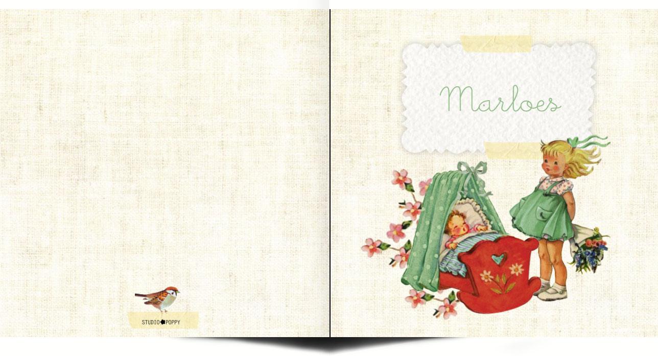 Retro geboortekaartje meisje met grote zus. Retro geboortekaartje met lieve plaatjes van vroeger. Aandoenlijke en nostalgische verhaaltjes om jullie kindje aan te kondigen. Lief geboortekaartje met vintage vleugje dat toch ook tijdloos is. Maak eens een proefkaart en gebruik de beeldbank om jouw eigen unieke kaartje te creëren.