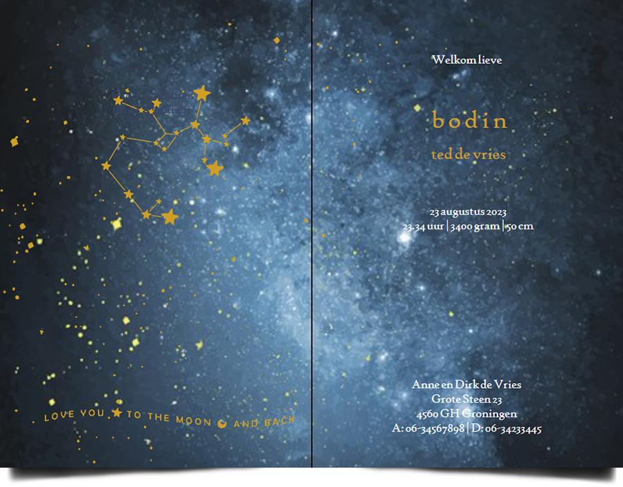 Een heel stijlvol geboortekaartje met het sterrenbeeld van jullie kindje en sterretjes en planeten in goudfolie. Uiteraard zijn alle sterrenbeelden beschikbaar. Mooiste papiersoorten voor een uniek geboortekaartje. In de editor kun je zelf jouw favoriete kleuren en lettertypen selecteren.