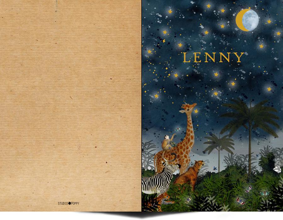 Een heel stijlvol geboortekaartje met het sterrenbeeld van jullie kindje en sterretjes en planeten in goudfolie. Uiteraard zijn alle sterrenbeelden beschikbaar. De panter, giraf en zebra kijken naar de sterren. Mooiste papiersoorten voor een uniek geboortekaartje. In de editor kun je zelf jouw favoriete kleuren en lettertypen selecteren.