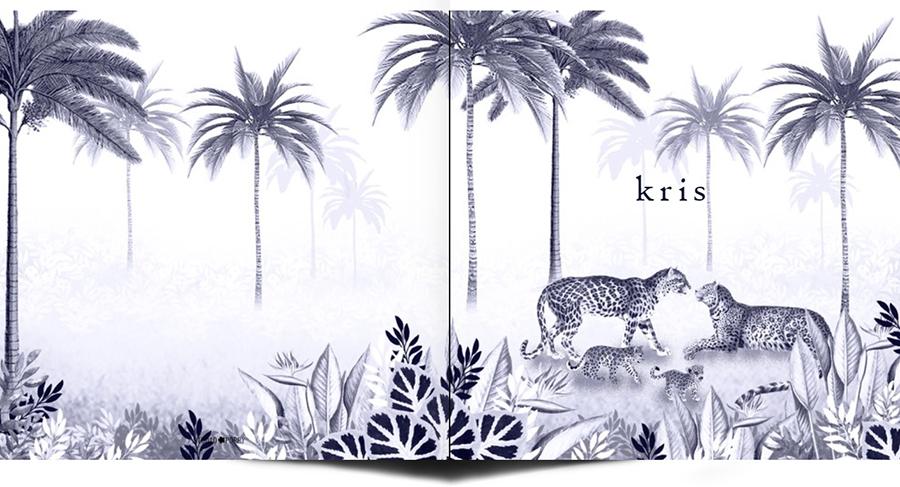 Een heel stijlvol geboortekaartje jungle met panters, twee welpjes en palmbomen. Beetje retro vintage maar vooral een heel illustratief geboortekaartje waar je zelf items aan toe kunt voegen of kunt weghalen. Experimenteer ook zelf eens met de kleuren. Een gratis proefkaartje is een aanrader.