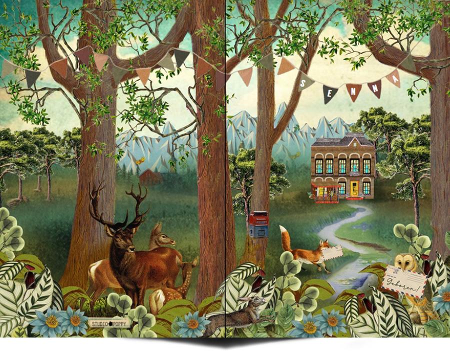 Retro vintage geboortekaartje met huis in het bos. Huis kun je ook op maat laten maken, hoe leuk is dat? Julie eigen huis op jullie geboortekaartje.