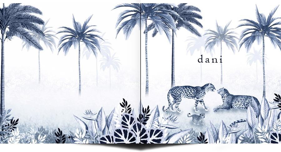 Een heel stijlvol geboortekaartje jungle met panters, een welpje en palmbomen. Beetje retro vintage maar vooral een heel illustratief geboortekaartje waar je zelf items aan toe kunt voegen of kunt weghalen. Experimenteer ook zelf eens met de kleuren. Een gratis proefkaartje is een aanrader.