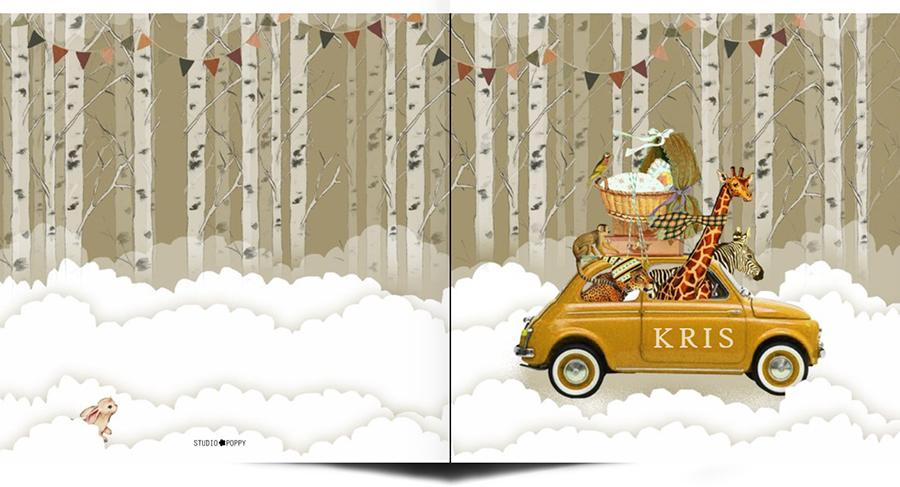 Geboortekaartje retro winter bos met de Fiat. De giraffe, zebra en panter gaan mee met de wieg op het dak. Sneeuw is koud, mutsen en sjaals mee dus!